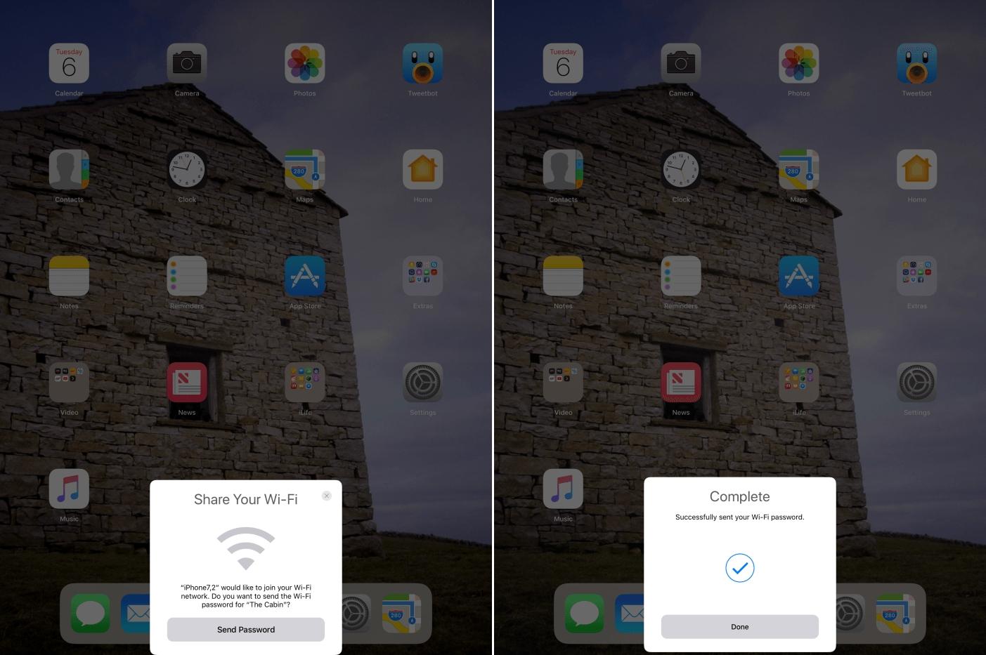 iOS 11 partajare parola WI-Fi