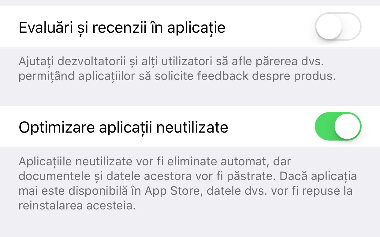 iOS 11 stergere aplicatii neutilizate
