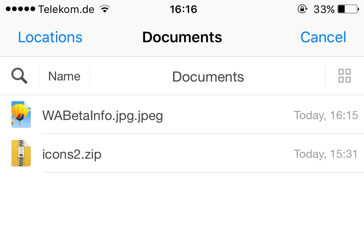 whatsapp trimite fisiere iphone