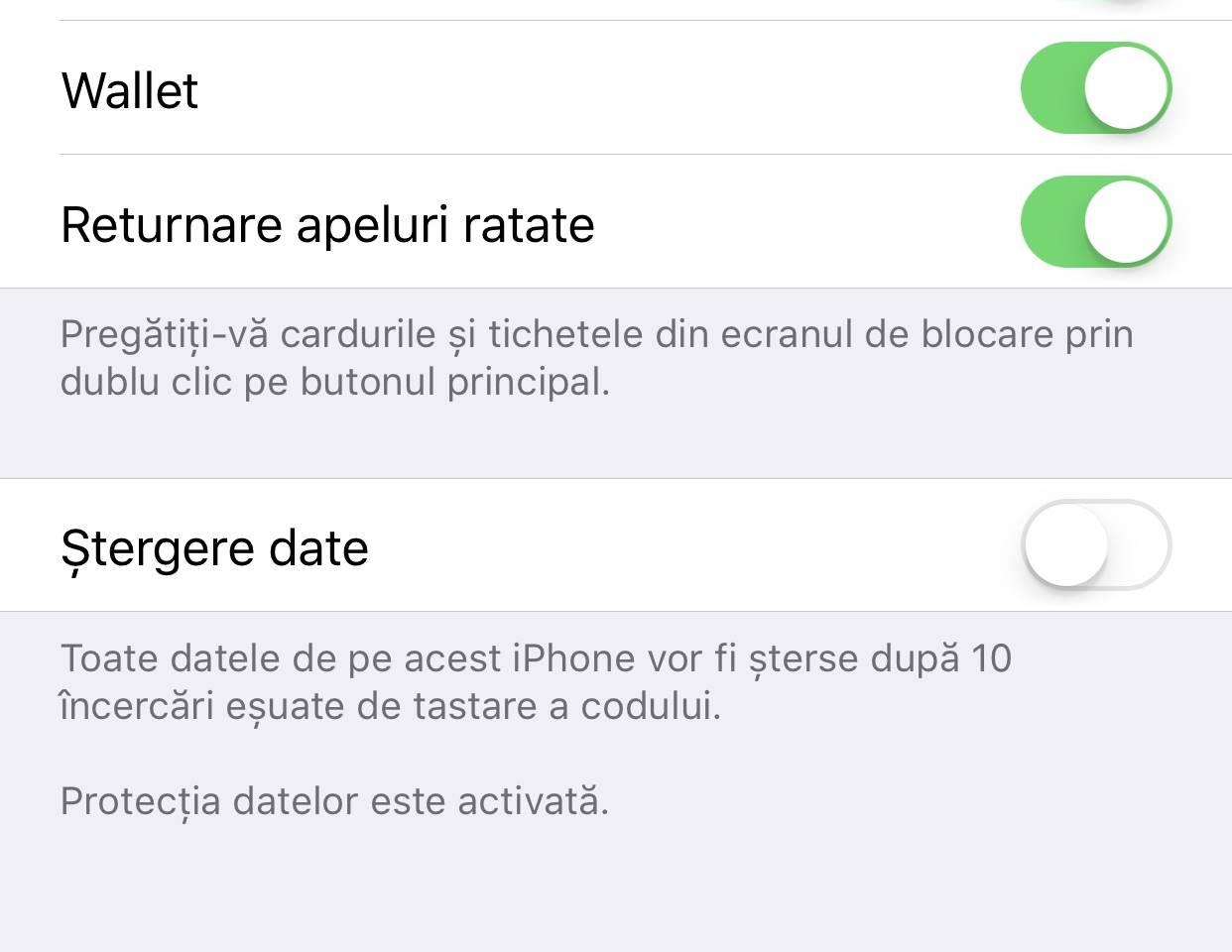 iOS 11 returnare apeluri Touch ID