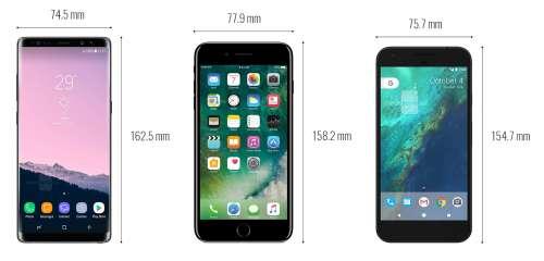 Samsung Galaxy Note 8 comparat iPhone 7 Plus