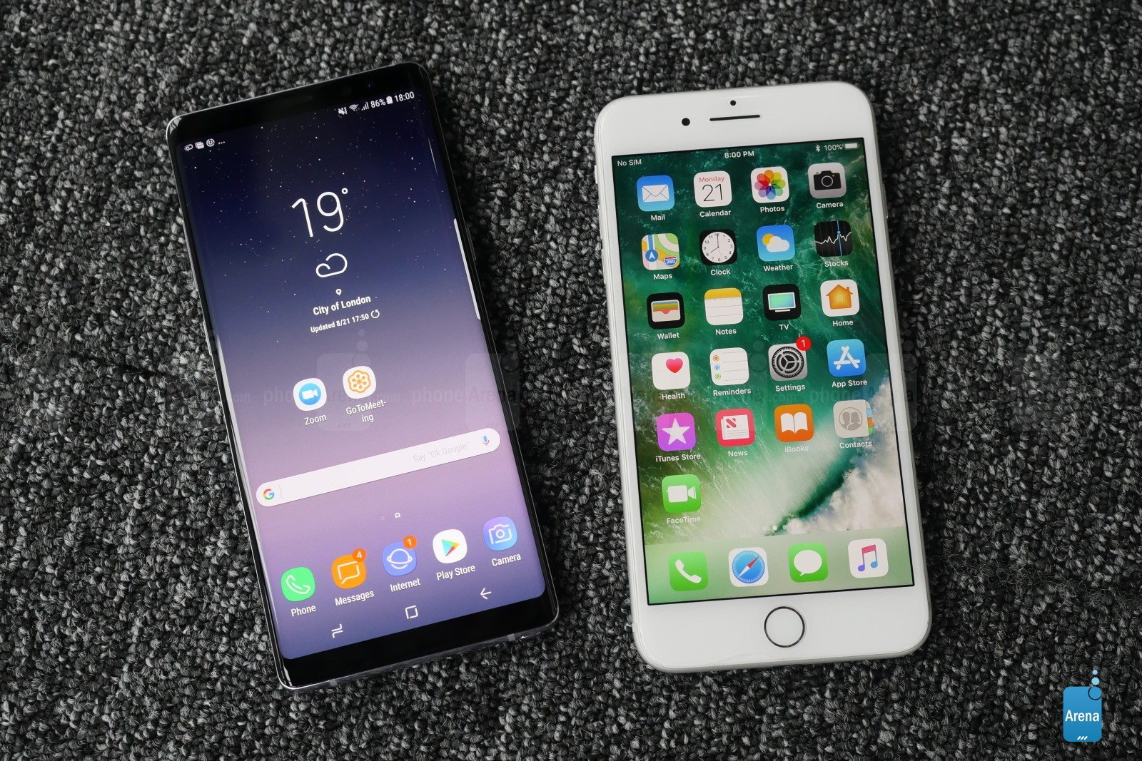 Samsung Galaxy Note 8 comparatie iPhone 7 Plus 2