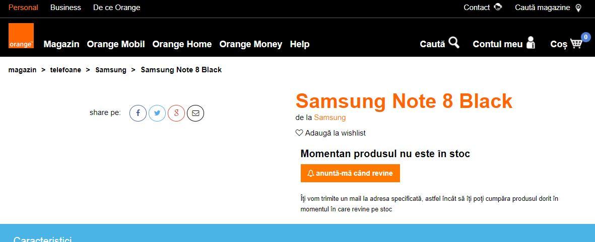 Samsung Note 8 Orange Romania