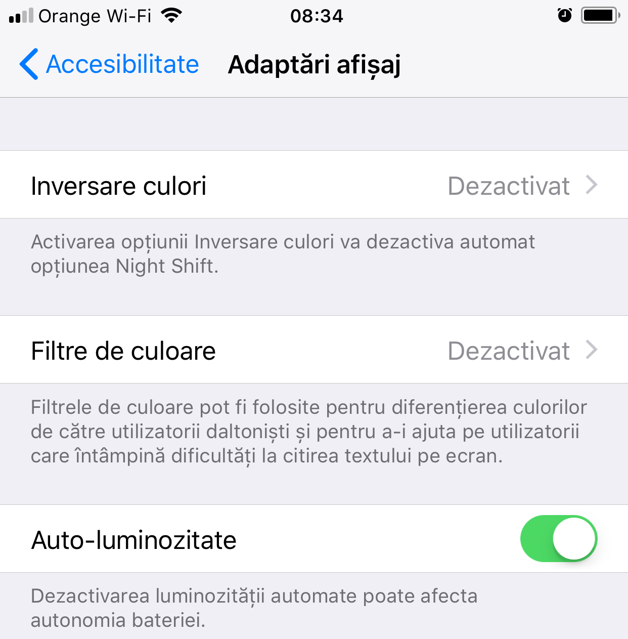 iOS 11 Activezi Luminozitatea Automata