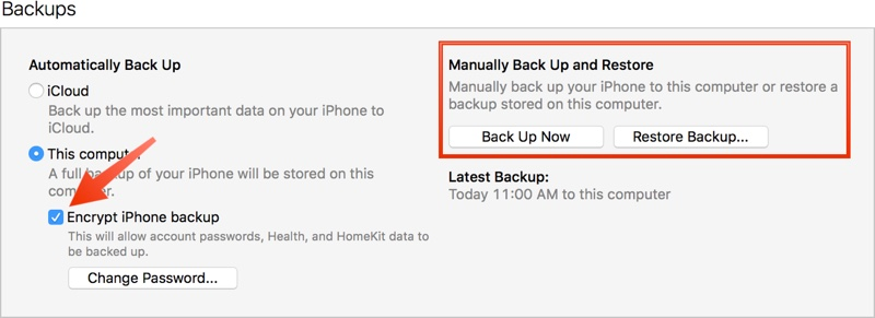 iOS 11 backup iTunes