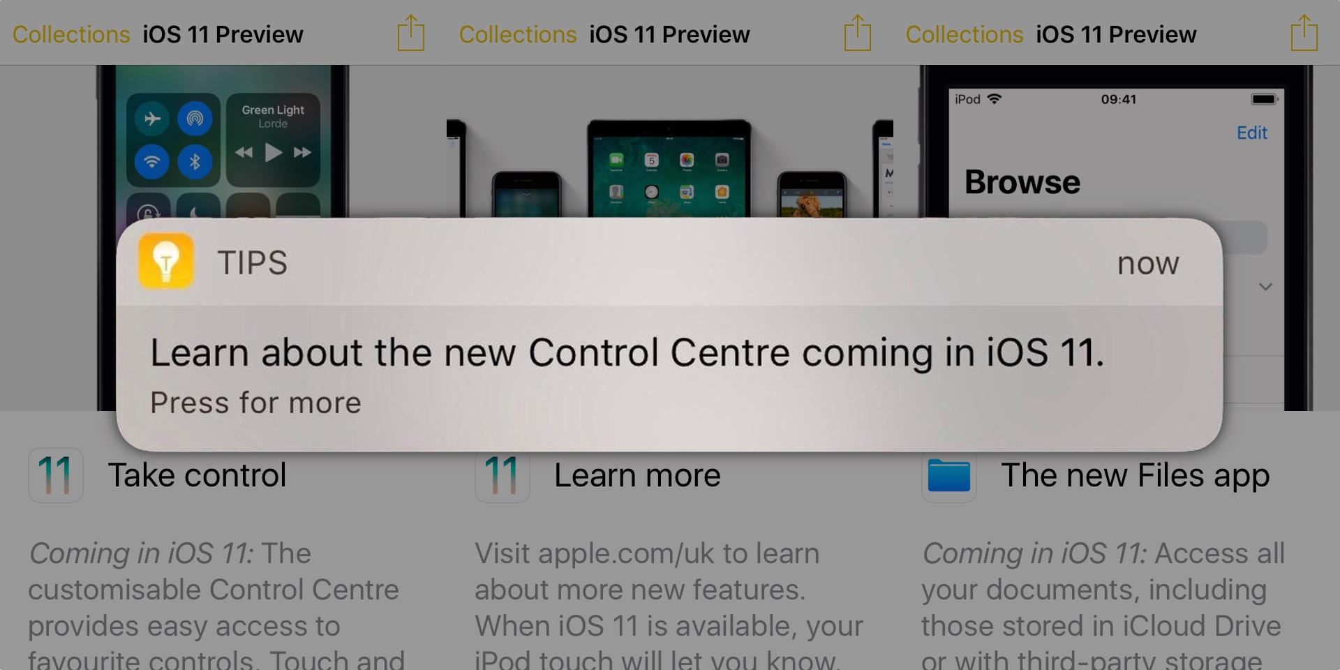 iOS 11 promovat ios 10
