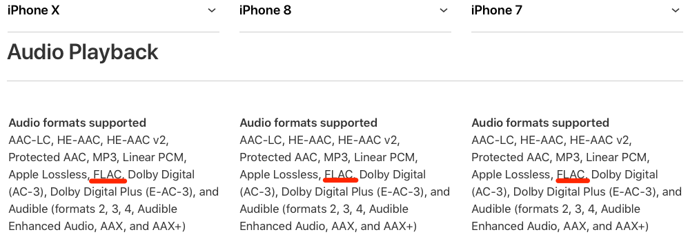 iPhone X iPhone 8 Suport FLAC Integrat