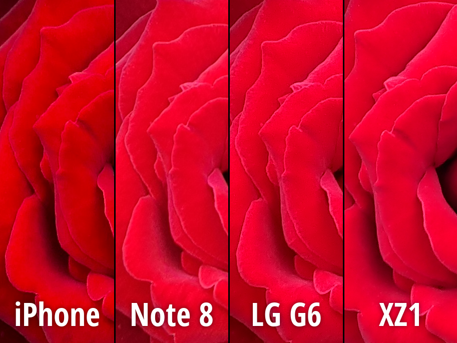 iPhone 8 Plus Note 8 LG G6 Xperia XZ1 camera