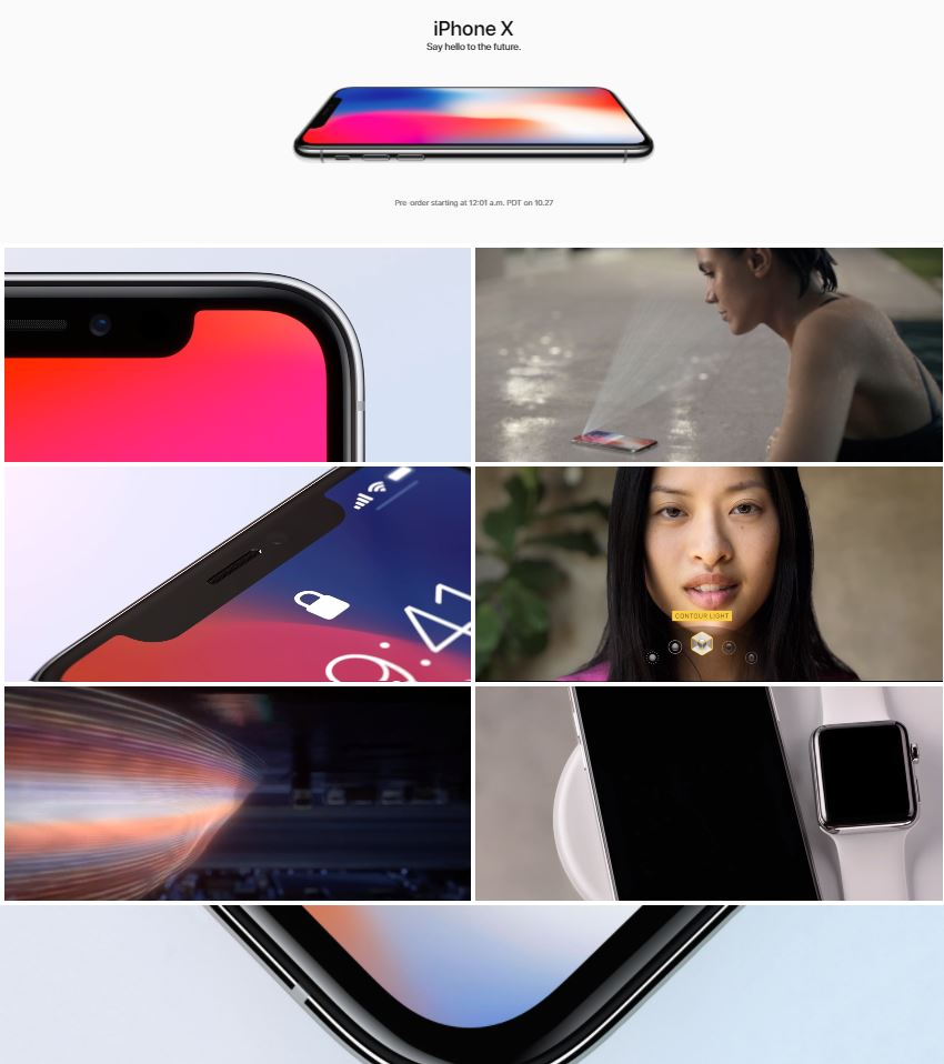 iPhone X Apple website