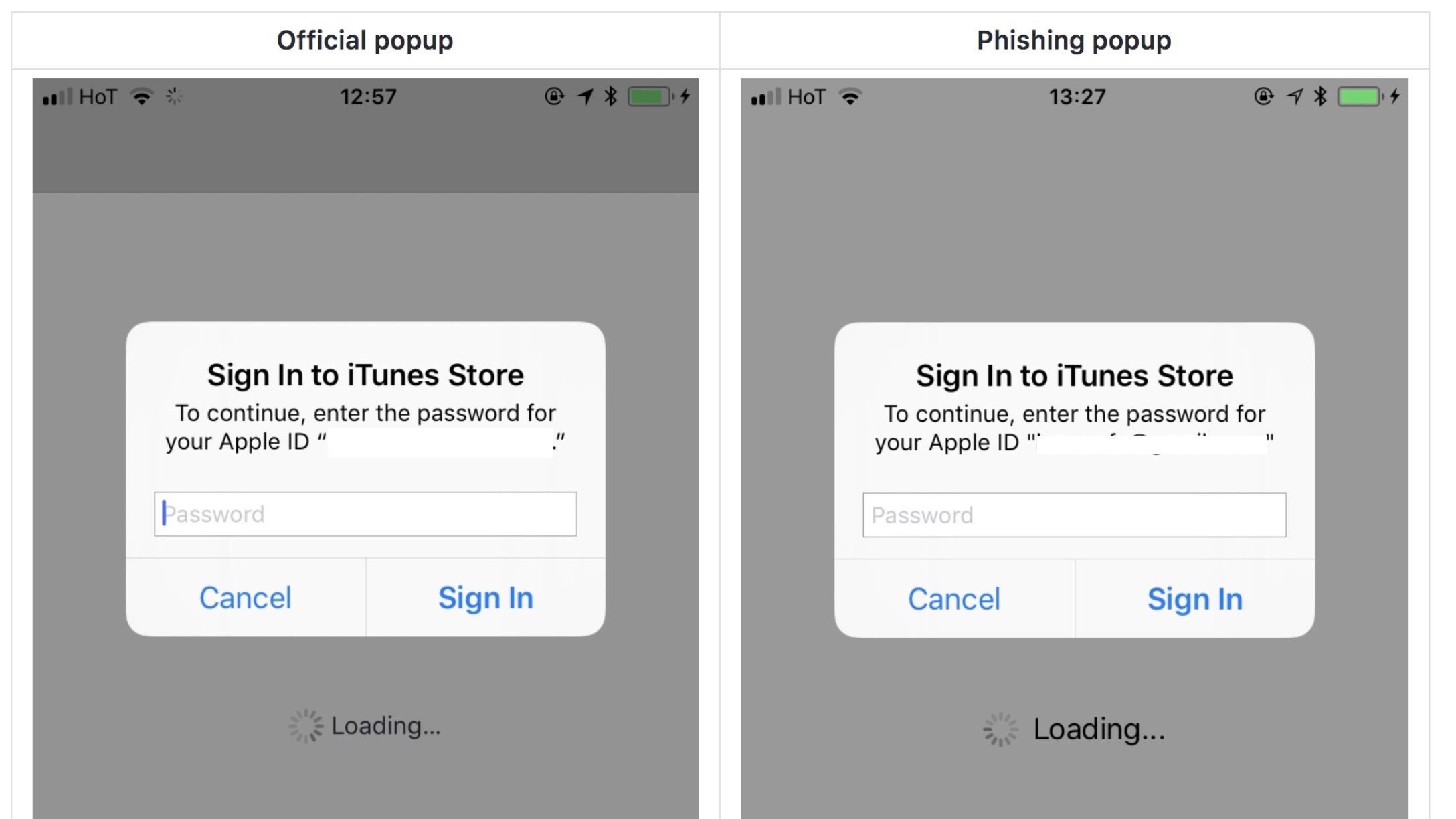 iPhone atac phishing
