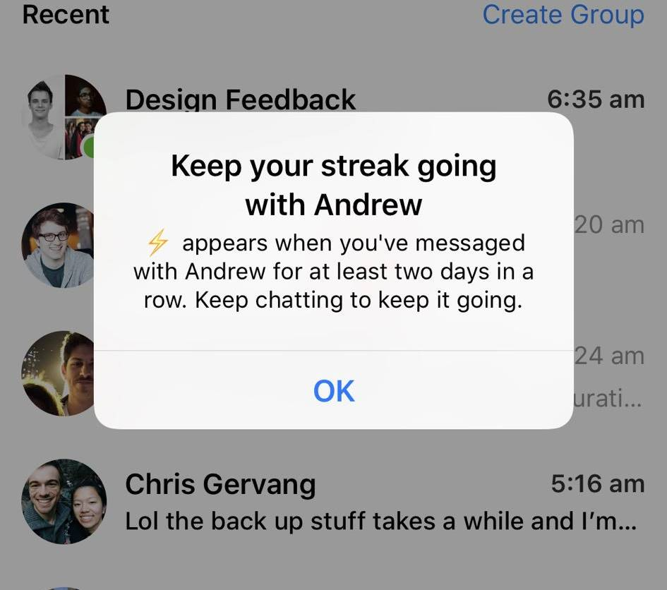 Facebook messenger streaks