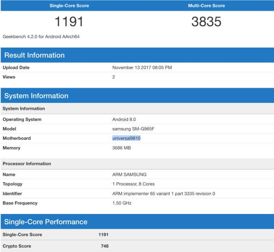 Samsung Galaxy S9 benchmark 1