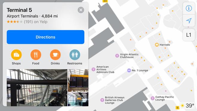 iOS 11 harta aeroport Heathrow