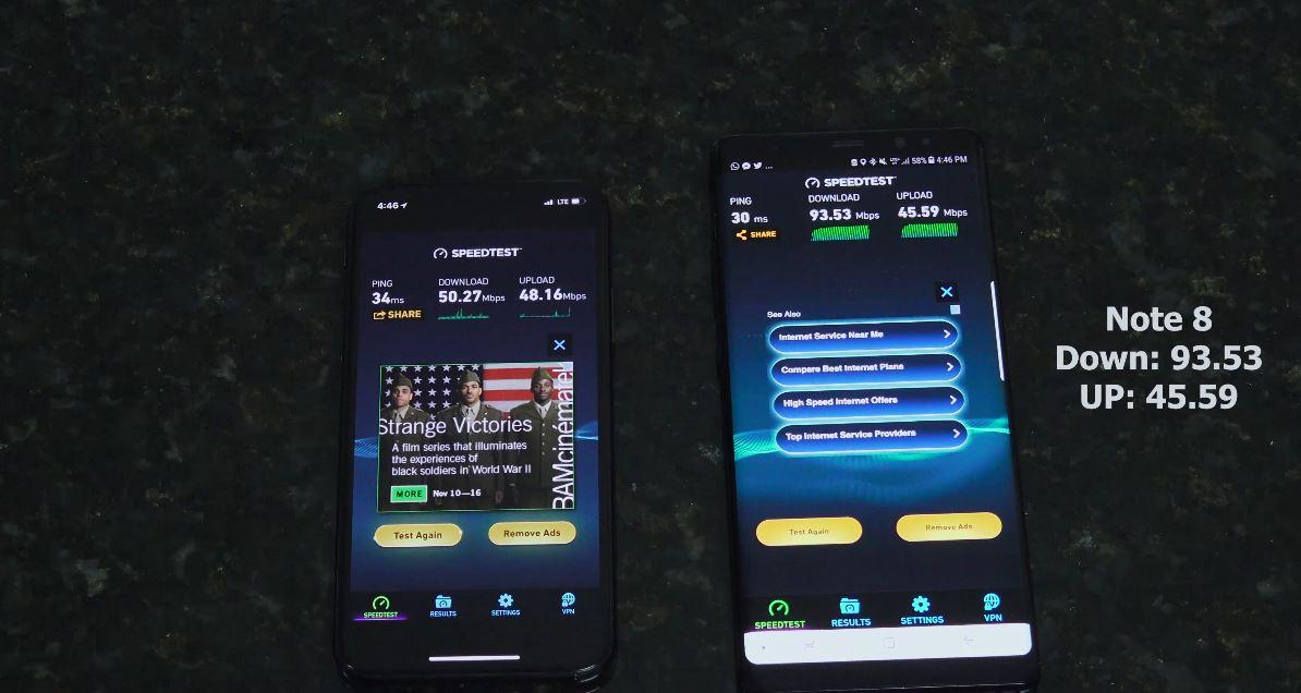 iPhone X Galaxy Note 8 gigabit 1