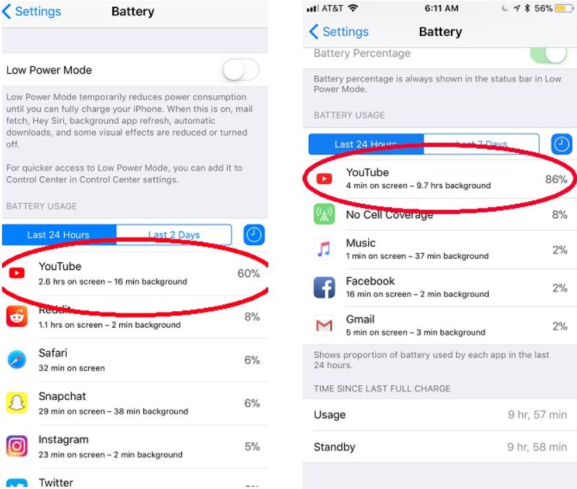 youtube bug baterie iphone