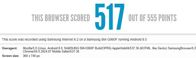 Samsung Galaxy S9 browser benchmark