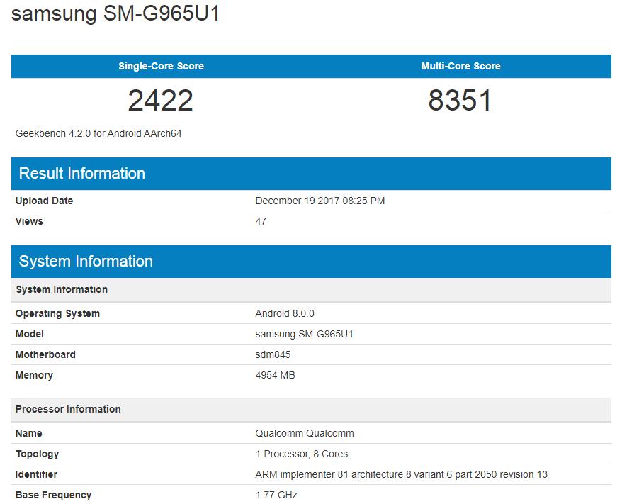 Samsung Galaxy S9 performante