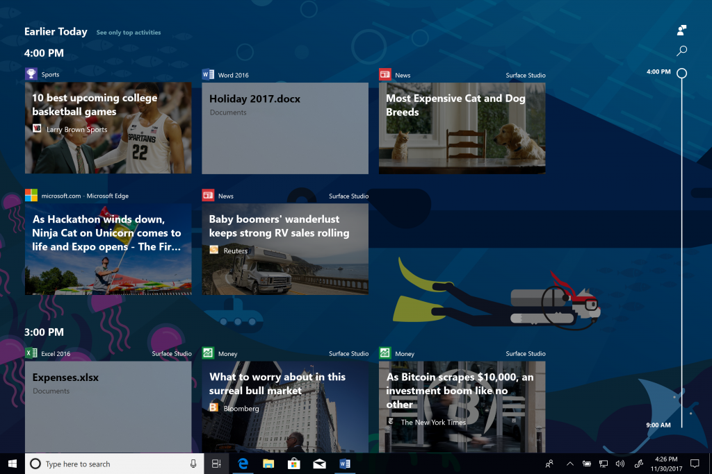 Windows 10 timeline beta