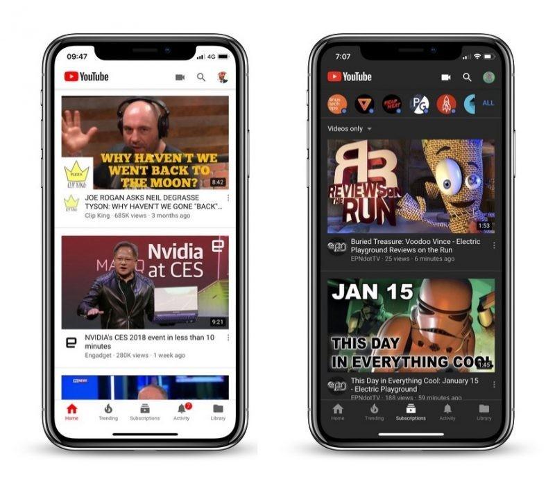 YouTube dark mode iphone