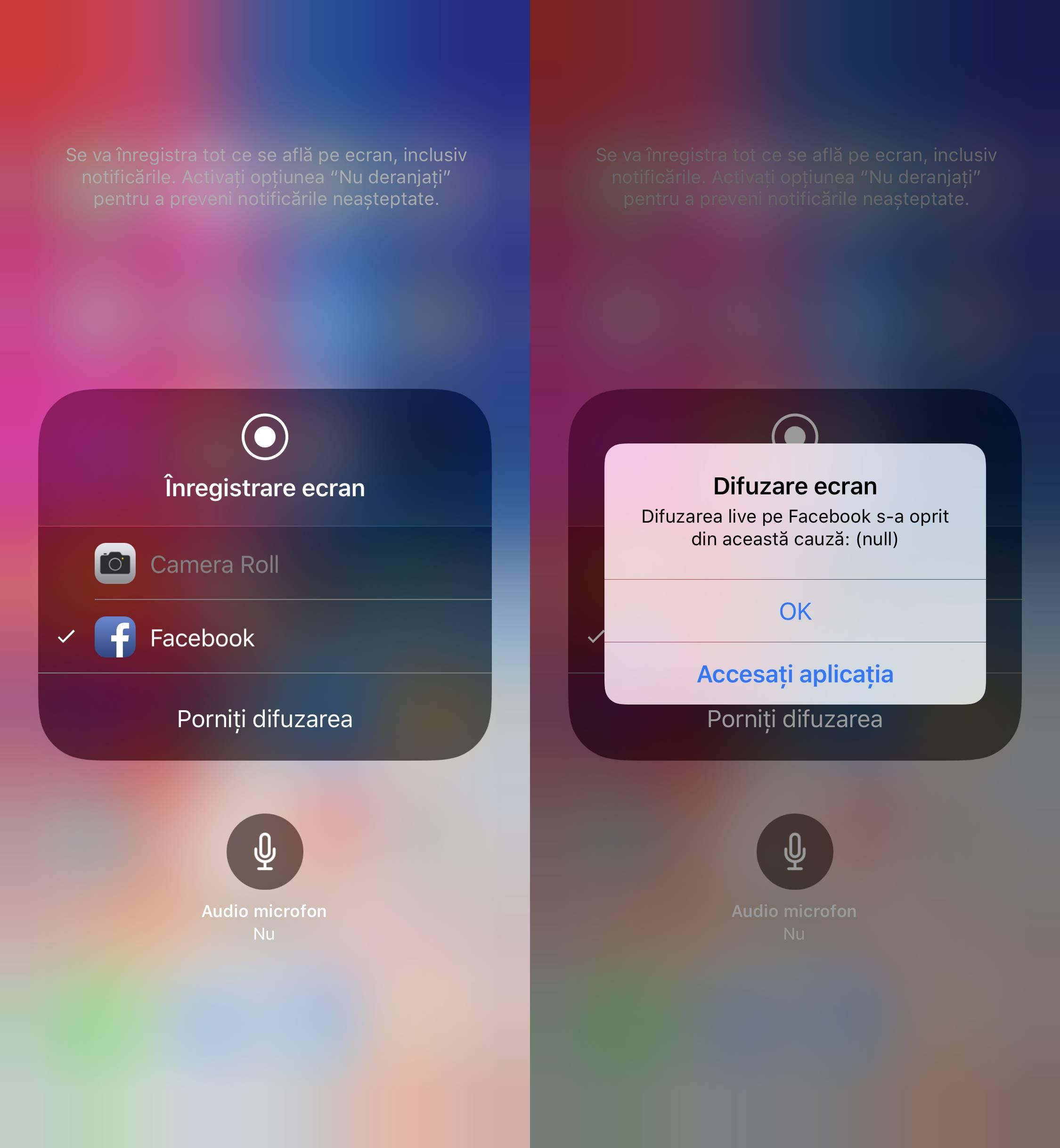 iOS 11 inregistrare ecran Facebook
