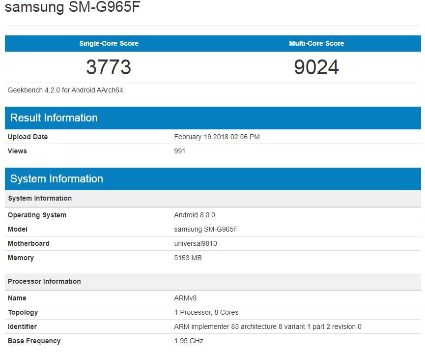 Samsung Galaxy S9 Plus performante geekbench