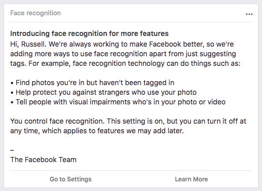 facebook recunoastere faciala functii