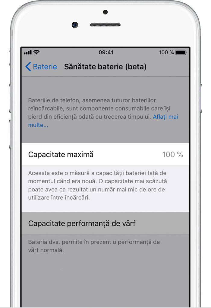 iOS 11.3 baterie capacitate maxima