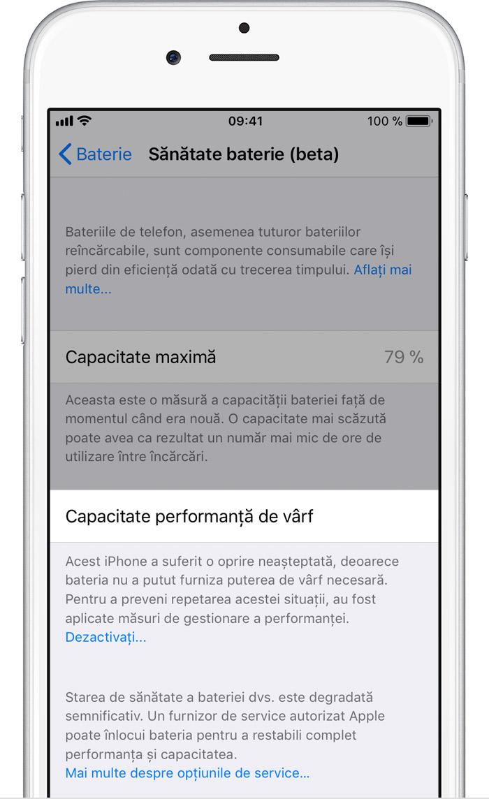 iOS 11.3 baterie deteriorata