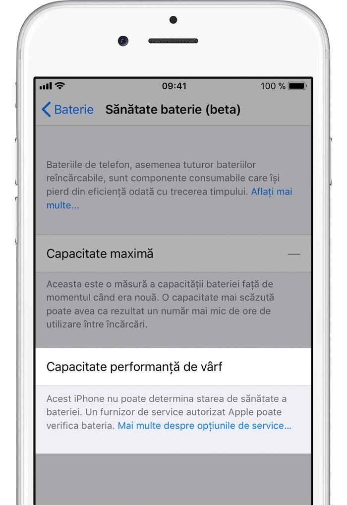 iOS 11.3 sanatate necunoscuta baterie
