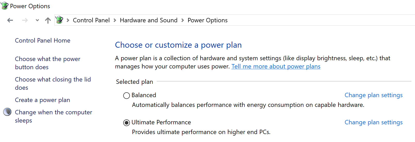 windows 10 ultimate performance