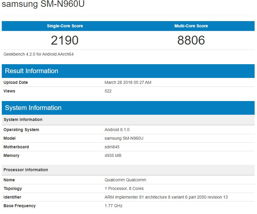 Samsung Galaxy Note 9 performante specificatii