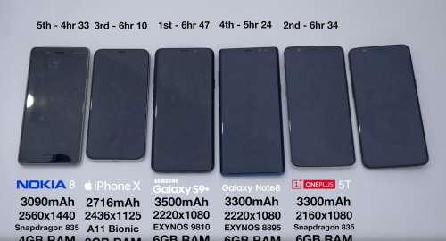 Samsung Galaxy S9 Plus iPhone X Note 8 OnePlus 5T Autonomia Bateriei
