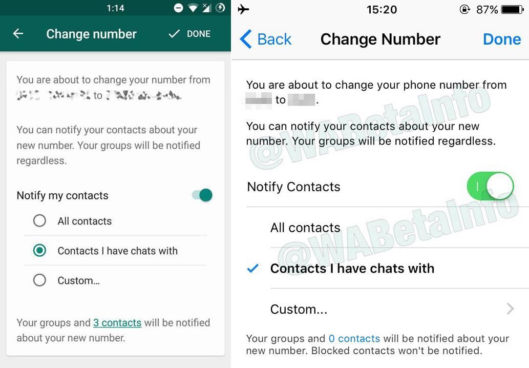 WhatsApp transfer numar telefon
