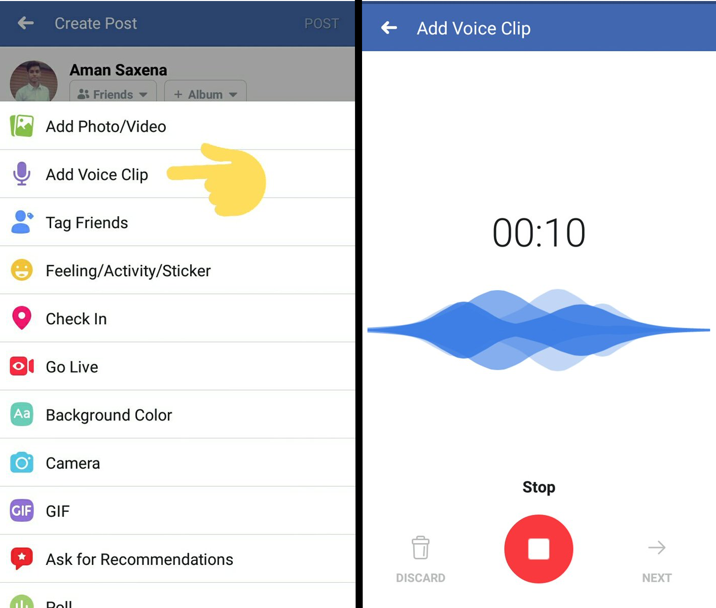 facebook mesaje vocale iPhone android 1