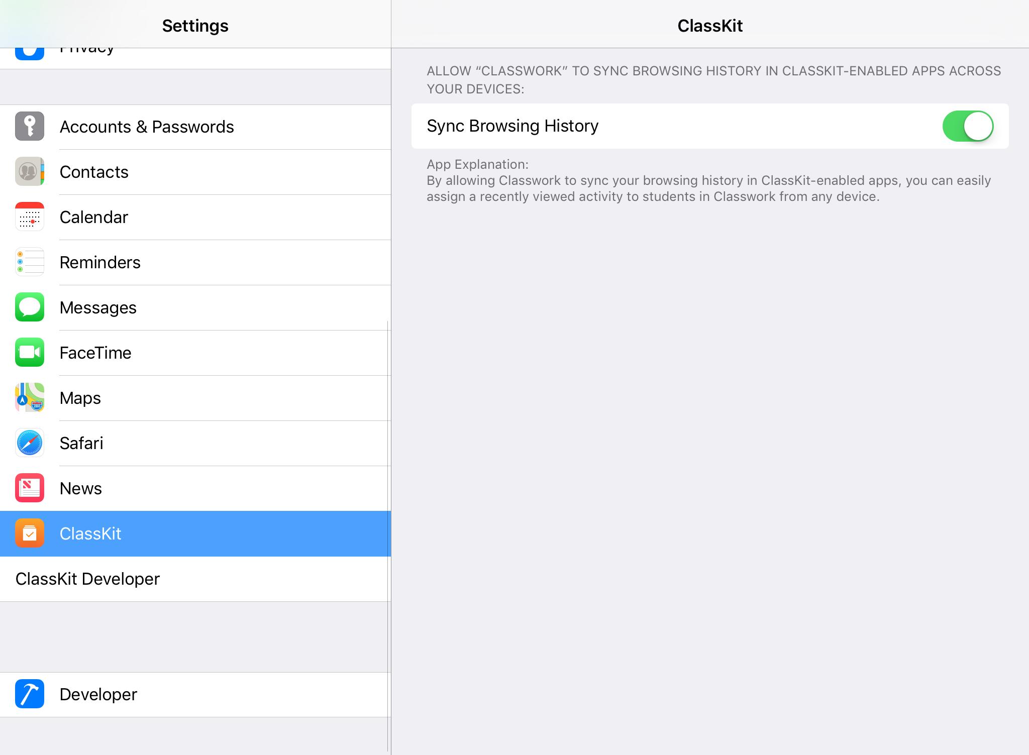 iOS 11.3 classkit meniu