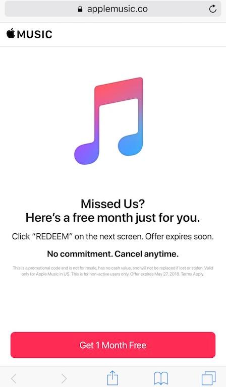 Apple Music luna suplimentara gratuit