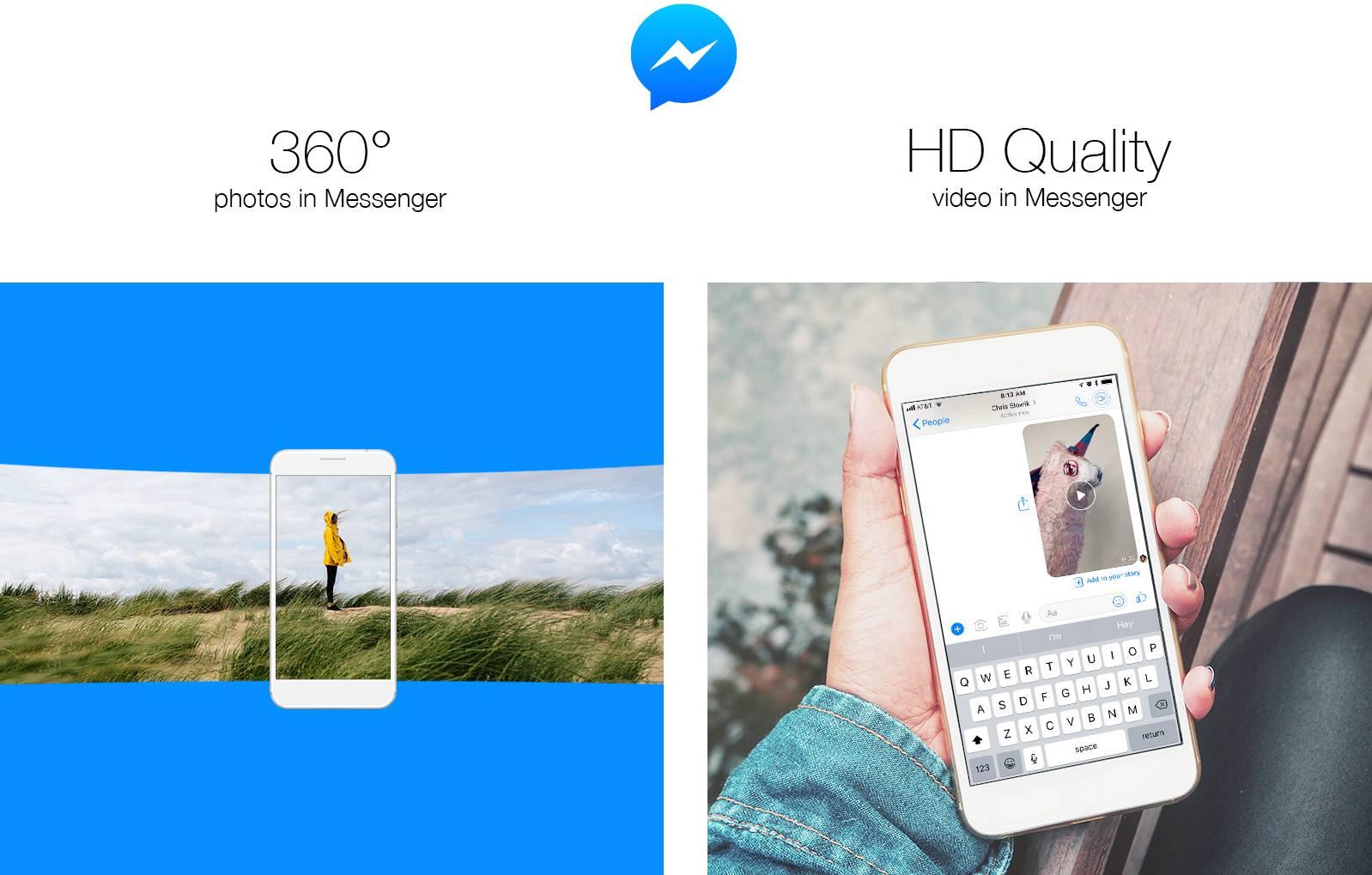 Facebook Messenger poze 360 grade video hd
