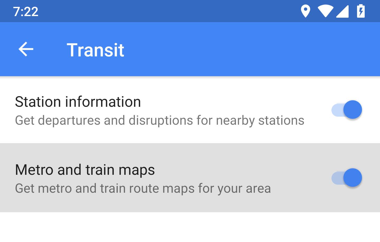 Google Maps harti metrou tren