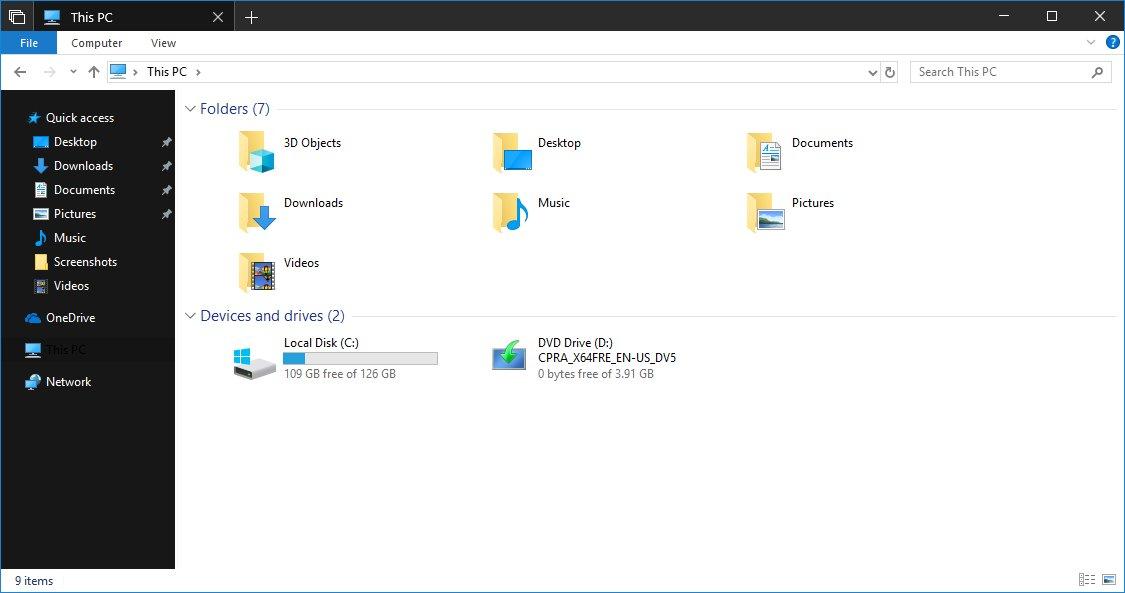 Windows 10 File Explorer Dark Mode