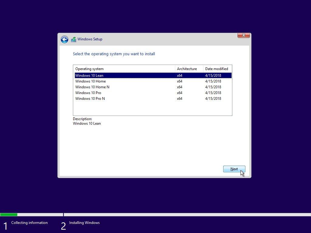 Windows 10 lean Microsoft