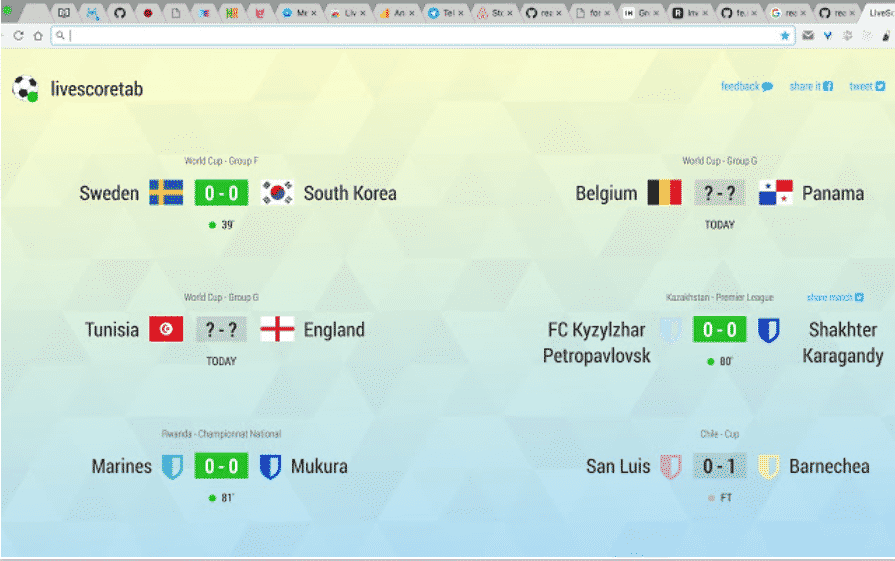 Google Chrome Scorurile Campionatului Mondial Timp REAL 1