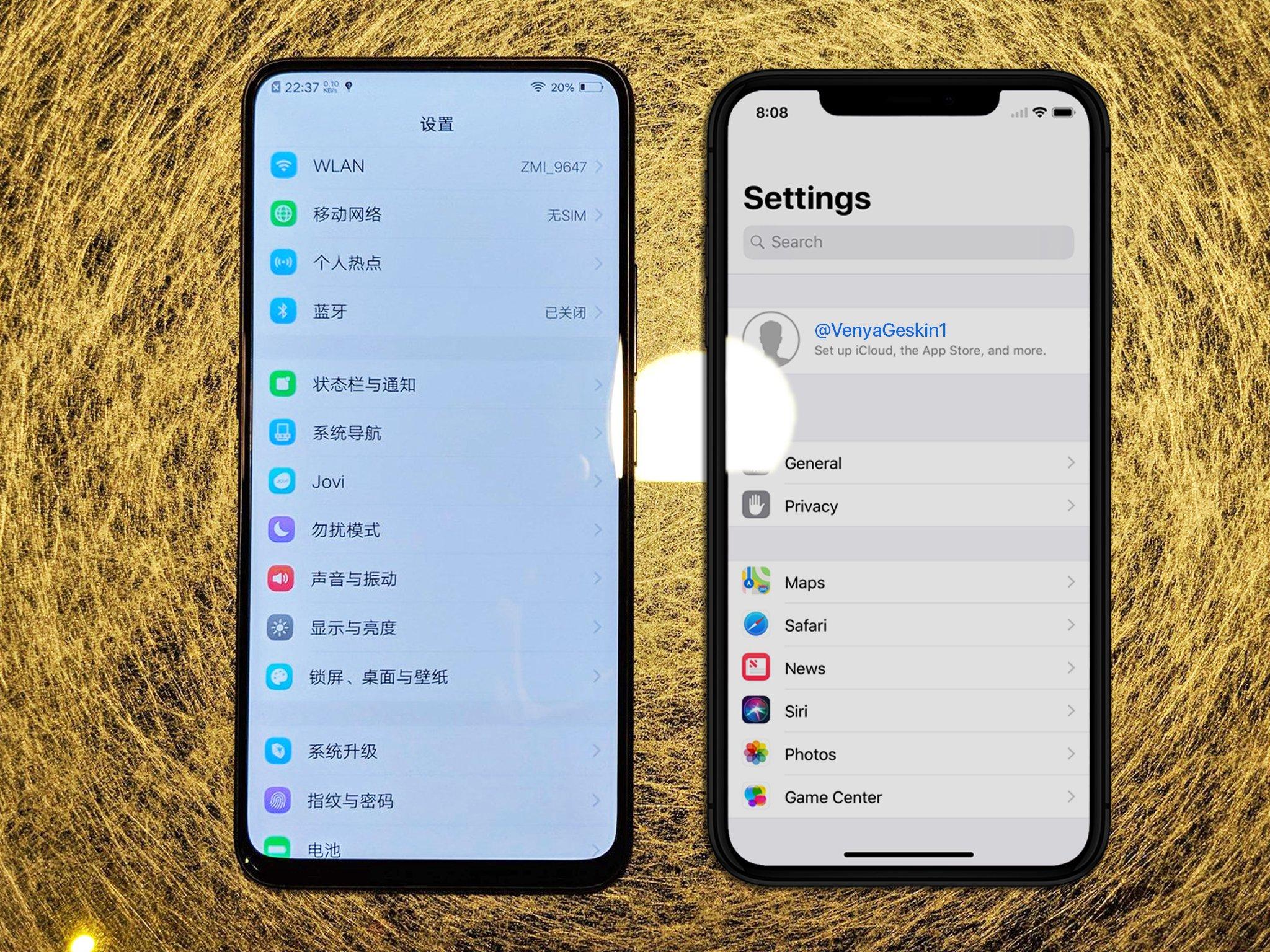Vivo NEX iPhone X Plus Comparatia Ecranelor 1