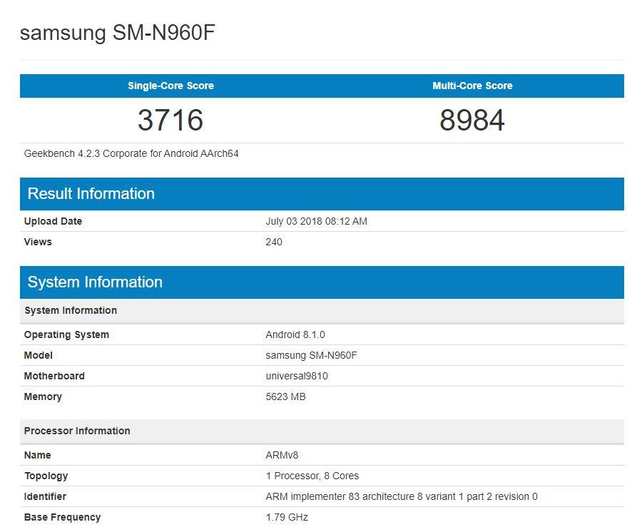 Samsung GALAXY Note 9 Performante SPECIFICATIILE 350039 1