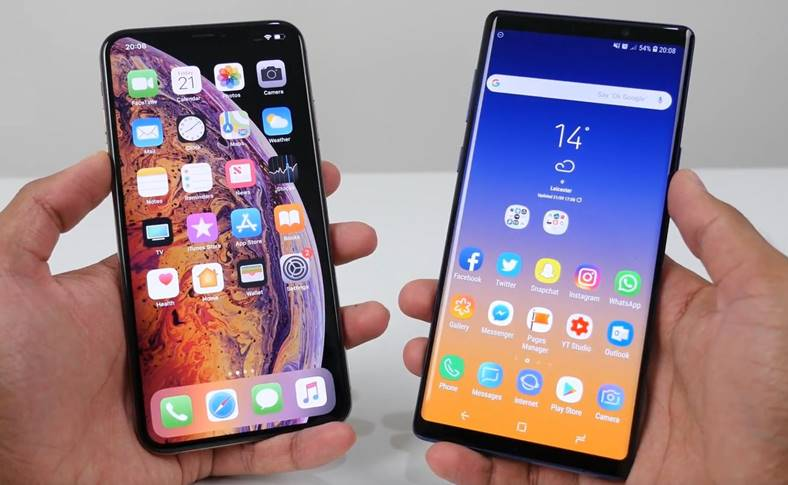 iphone xs max sansung galaxy note 9 performante