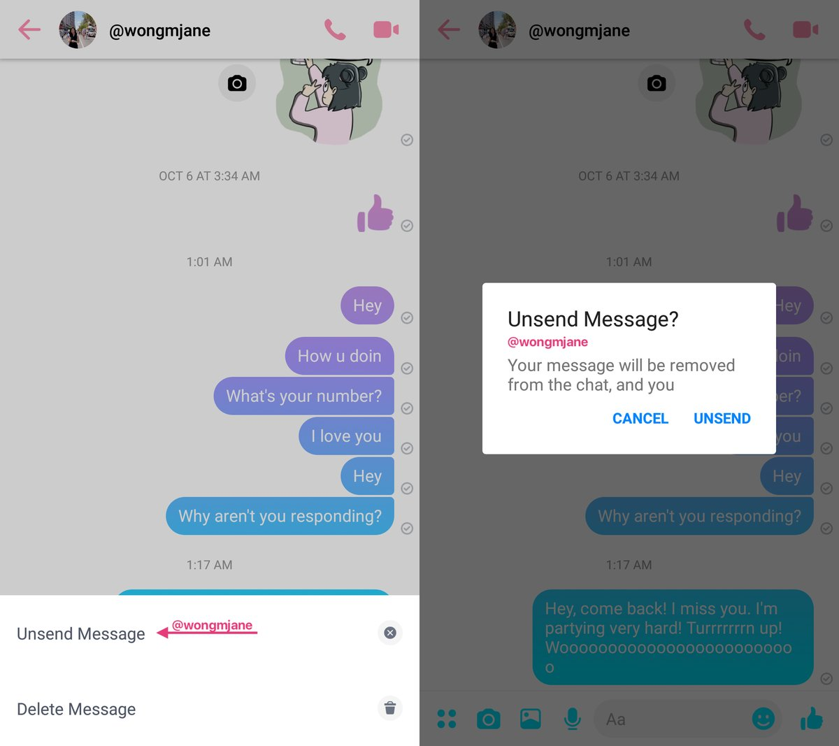 Facebook Messenger unsend whatsapp 1