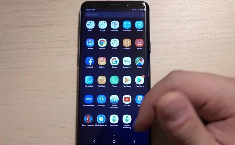 Samsung Galaxy S8 interfata android 9