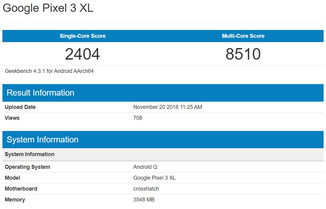 Android Q benchmark 1