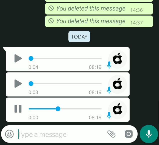 WhatsApp mesaje vocale consecutive