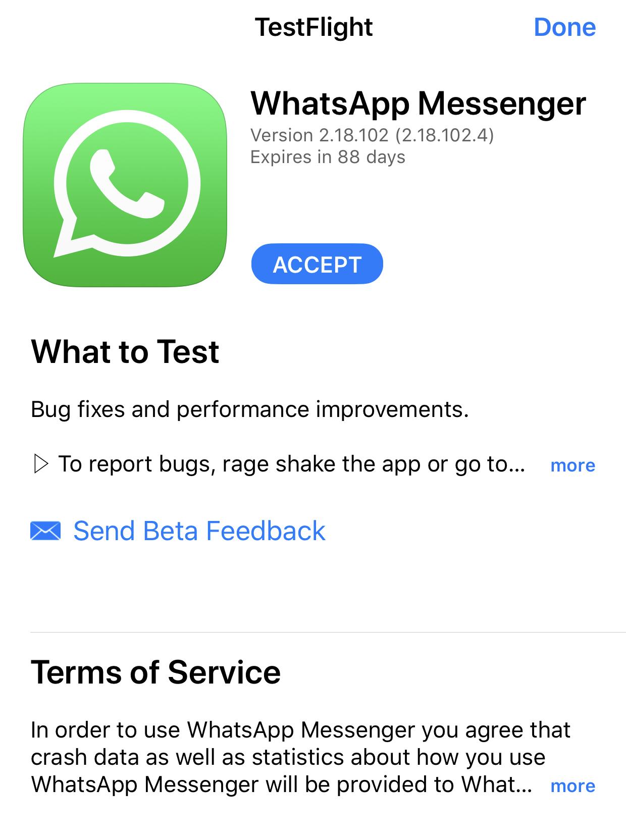 whatsapp beta iphone 1