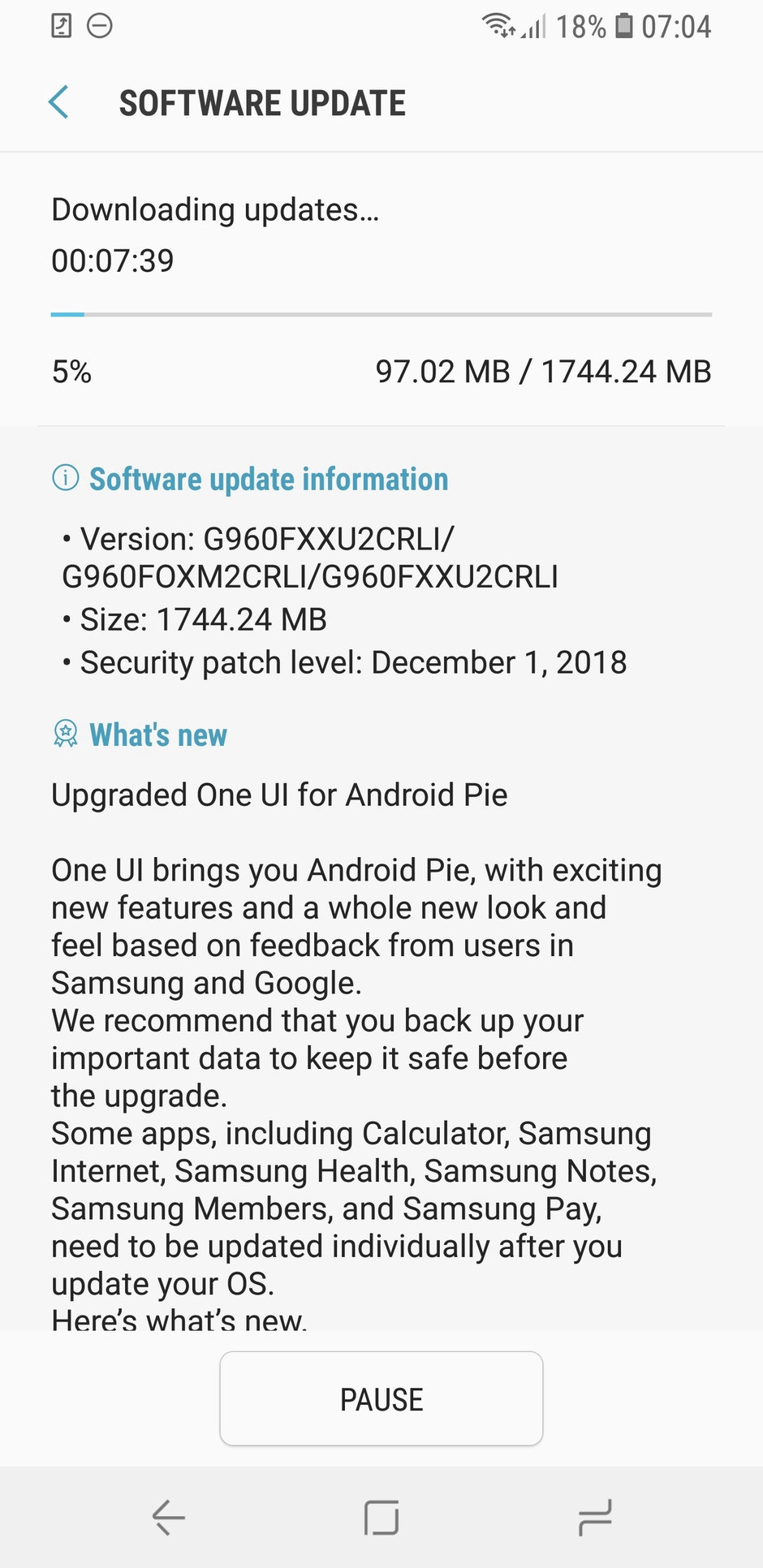 Android 9 galaxy s9 europa